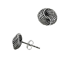 Sterling Silver Spiral Knot Stud Earrings