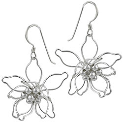 Sterling Silver Blooming Flower Wire Dangle Earrings