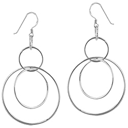 Sterling Silver Circle Loop Dangle Earrings