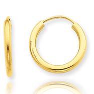 14K Gold  2x15mm Polished Round Endless Hoop Earrings