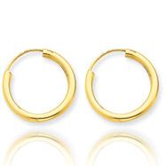 14K 2x17mm Polished Round Endless Hoop Earrings