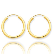 14K  2x20mm  Polished Round Endless Hoop Earrings