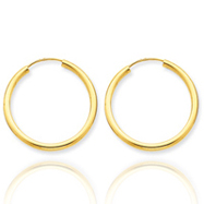 14K Gold  2x25mm Polished Round Endless Hoop Earrings