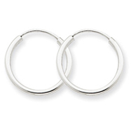 14K White Gold 1.5x16mm Polished Endless Hoop Earrings
