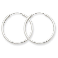 14K  White Gold  1.5x23mm Polished Endless Hoop Earrings