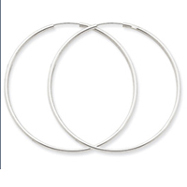 14K White Gold 1.5x47mm Polished Endless Hoop Earrings