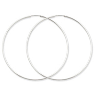 14K White Gold 1.5x65mm Polished Endless Hoop Earrings