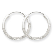 14K White Gold 1.5x16mm Diamond-Cut Endless Hoop Earrings