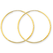 14K Gold 1.25x33mm Diamond CutEndless Hoop Earring