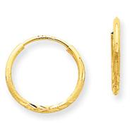 14K Gold 1.25x13mm Diamond Cut Endless Hoop Earring