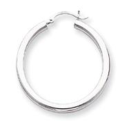 14K White Gold 3x35mm Round Hoop Earrings