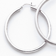 14K White Gold 3x50mm Round Hoop Earrings