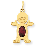 14K Gold Gold Boy 7x5 Oval Genuine Garnet-January Charms