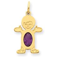 14K Gold Boy 7x5 Oval Genuine Amethyst February Charm