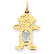 14K Gold Girl 7x5 Oval Genuine Aquamarine March Charm