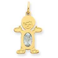 14K Gold Boy 7x5 Oval Genuine Aquamarine March Charm