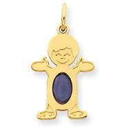 14K Gold Boy 7x5 Oval Genuine Sapphire-September Charm