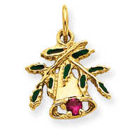 14K Gold Christmas Bell & Leaves Charm
