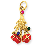 14K Gold Christmas Tree & Enameled Gifts Charm