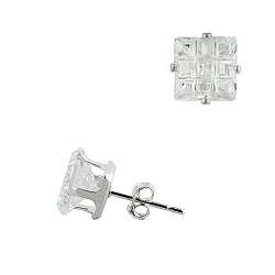 Sterling Silver 7mm Invisible Cut Square CZ Stud Earrings