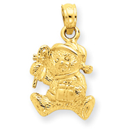 14K Gold Polished 3-D Teddy Bear Pendant