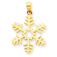 14K Gold Polished 3-D Snowflake Pendant