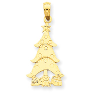 14K Gold Christmas Tree & Gifts Pendant