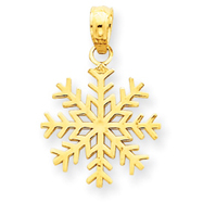 14K Gold 3-D Snowflake Pendant