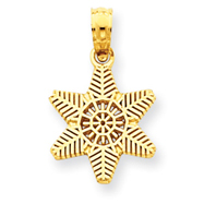 14K Gold  Solid Polished Snowflake Pendant