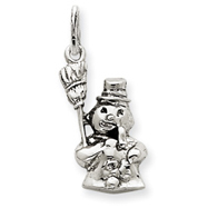 14K  White Gold Polished Snowman Charm