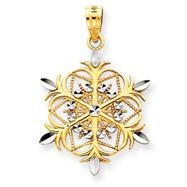 14K Gold & Rhodium Snowflake Pendant