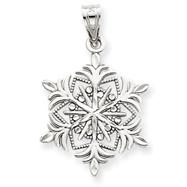 14K White Gold Snowflake Pendant