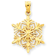 14K Gold Diamond -Cut Snowflake Pendant