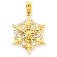14K Gold Diamond -Cut Snowflake Pendant