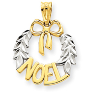 14K Gold & Rhodium Diamond -Cut Noel Wreath