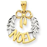 14K Gold & Rhodium Diamond -Cut Noel Wreath