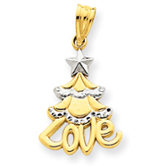 14K Gold & Rhodium Christmas Tree Love Pendant