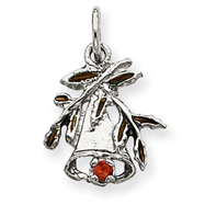 14K Gold White Gold Chistmas Bell & Holly Charm