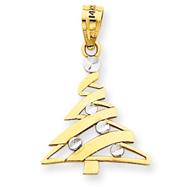 14K Gold & Rhodium Christmas Tree Pendant