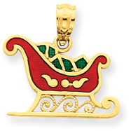 14K Gold Enameled Sleigh Pendant