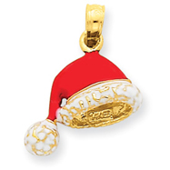 14K Gold 3-D Enameled Santa Hat Charm