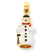 14K Gold 3-D Enameled Snowman Charm