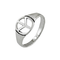 Sterling Silver Peace Sign Ring