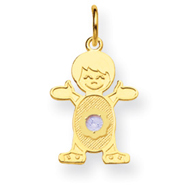 14K Boy 2.5mm Synthetic March Charm