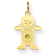 14K Boy 2.5mm Synthetic August Charm