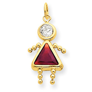 14K Gold January Girl Gemstone Charm