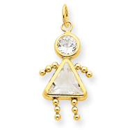 14K Gold April Girl Gemstone Charm