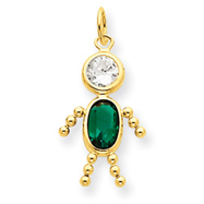 14K Gold May Boy Gemstone Charm