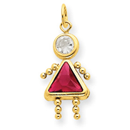 14K Gold July Girl Gemstone Charm
