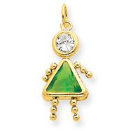 14K Gold August Girl Gemstone Charm